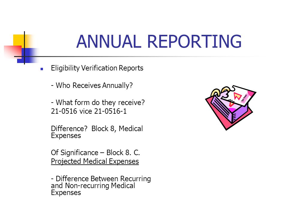 ANNUAL REPORTING Eligibility Verification Reports - Who Receives Annually.