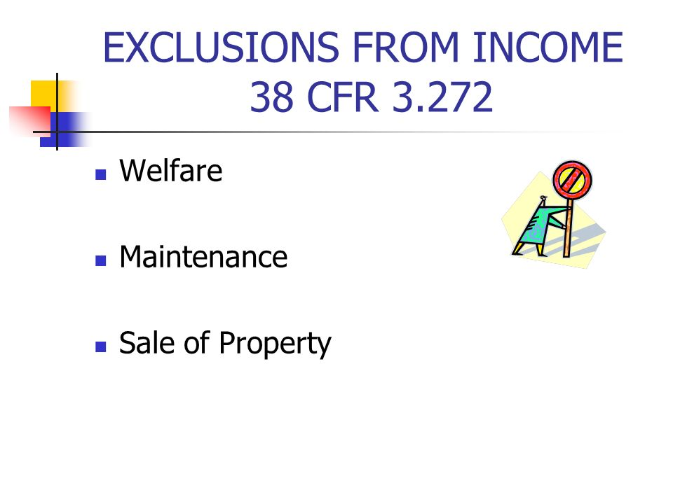 EXCLUSIONS FROM INCOME 38 CFR 3.272 Welfare Maintenance Sale of Property