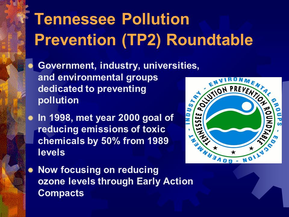 Tennessee Pollution Prevention (TP2) Roundtable Government, industry, universities, and environmental groups dedicated to preventing pollution In 1998, met year 2000 goal of reducing emissions of toxic chemicals by 50% from 1989 levels Now focusing on reducing ozone levels through Early Action Compacts