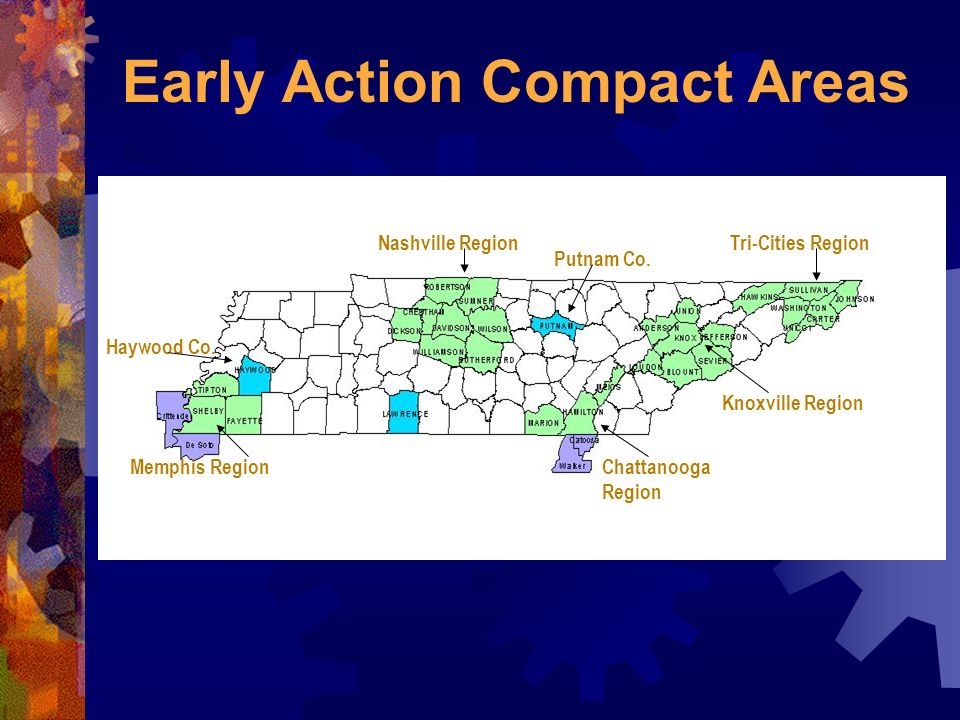 Early Action Compact Areas Chattanooga Region Knoxville Region Tri-Cities RegionNashville Region Memphis Region Putnam Co.