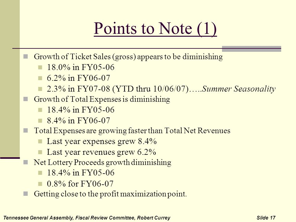 Points to Note (1) Growth of Ticket Sales (gross) appears to be diminishing 18.0% in FY05-06 6.2% in FY06-07 2.3% in FY07-08 (YTD thru 10/06/07)…..Sum