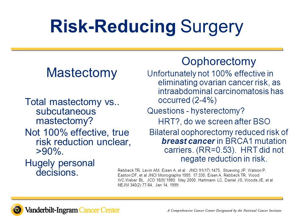 Risk-Reducing Surgery Mastectomy Total mastectomy vs.. subcutaneous mastectomy? Not 100% effective, true risk reduction unclear, >90%. Hugely personal