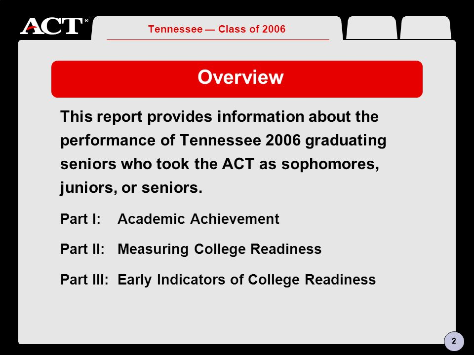® Tennessee Class of 2006 Overview This report provides information about the performance of Tennessee 2006 graduating seniors who took the ACT as sophomores, juniors, or seniors.