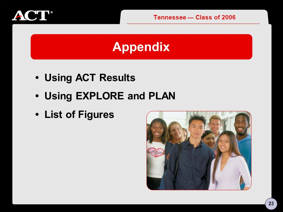 ® Appendix Using ACT Results Using EXPLORE and PLAN List of Figures Tennessee Class of 2006 23