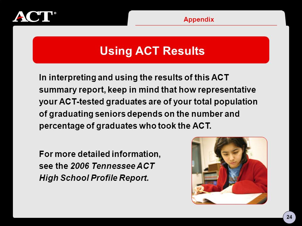 ® Using ACT Results In interpreting and using the results of this ACT summary report, keep in mind that how representative your ACT-tested graduates are of your total population of graduating seniors depends on the number and percentage of graduates who took the ACT.