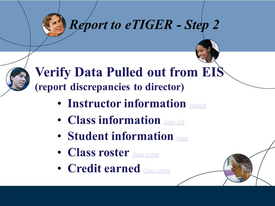 Report to eTIGER - Step 2 Verify Data Pulled out from EIS (report discrepancies to director) Instructor information teacher teacher Class information
