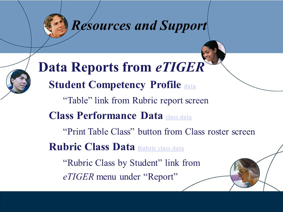Resources and Support Data Reports from eTIGER Student Competency Profile data data Table link from Rubric report screen Class Performance Data class