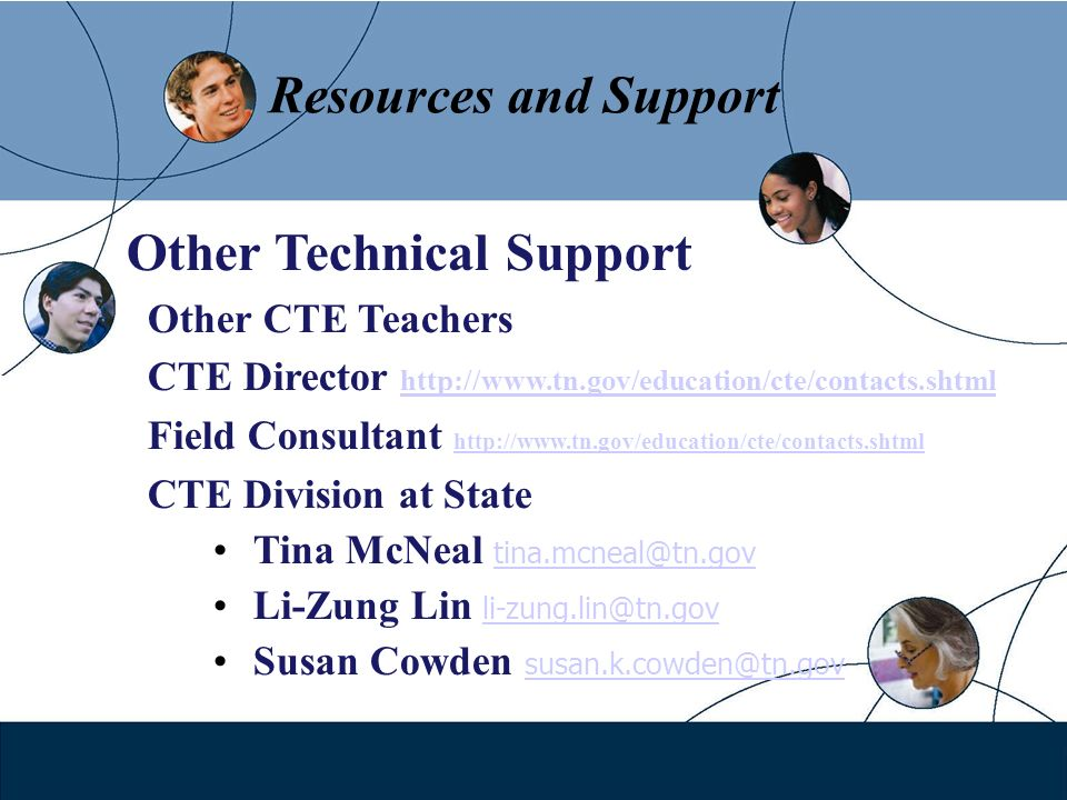 Resources and Support Other Technical Support Other CTE Teachers CTE Director http://www.tn.gov/education/cte/contacts.shtml http:// Field Consultant