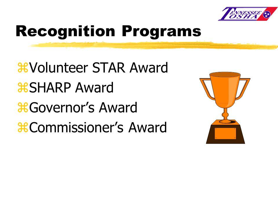 Recognition Programs zVolunteer STAR Award zSHARP Award zGovernors Award zCommissioners Award