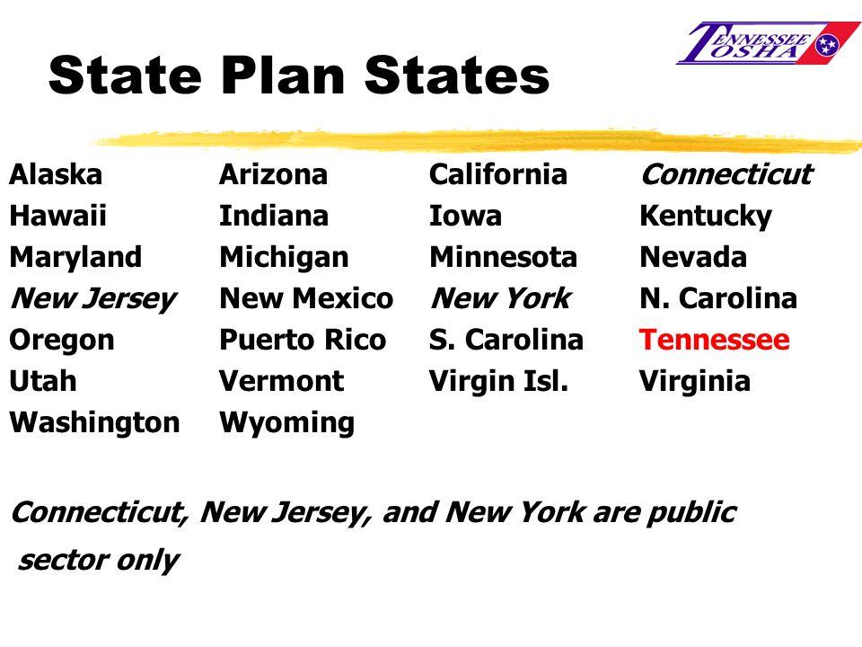 State Plan States AlaskaArizonaCalifornia Connecticut HawaiiIndianaIowaKentucky Maryland MichiganMinnesotaNevada New JerseyNew Mexico New YorkN. Carol