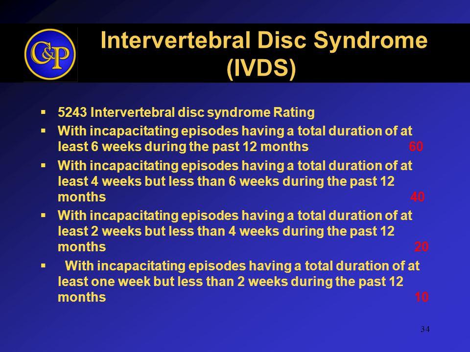 Intervertebral Disc Syndrome (IVDS) 5243 Intervertebral disc syndrome Rating With incapacitating episodes having a total duration of at least 6 weeks