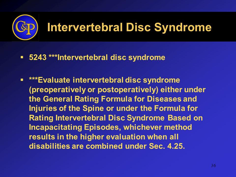 Intervertebral Disc Syndrome 5243 ***Intervertebral disc syndrome ***Evaluate intervertebral disc syndrome (preoperatively or postoperatively) either
