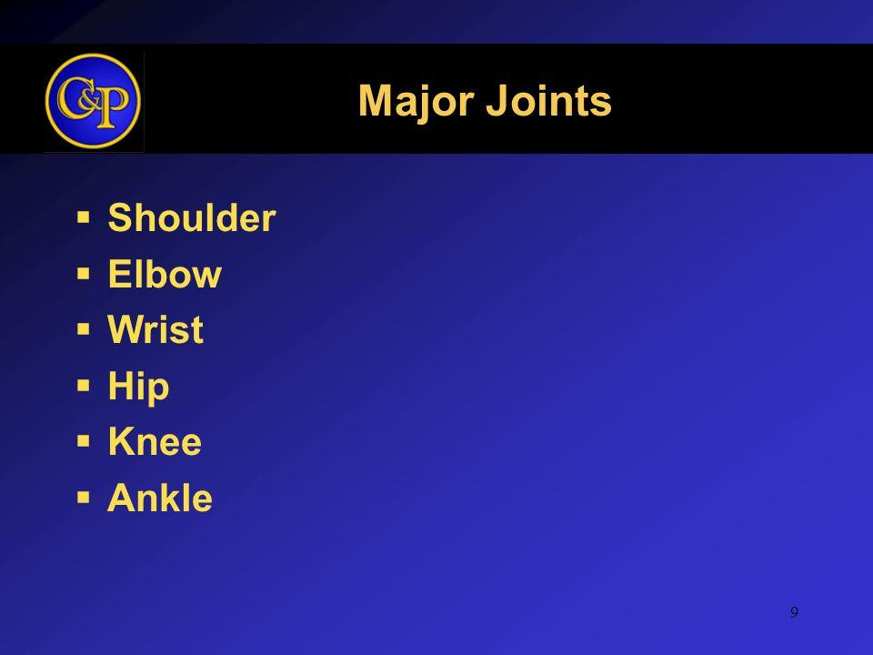 9 Major Joints Shoulder Elbow Wrist Hip Knee Ankle