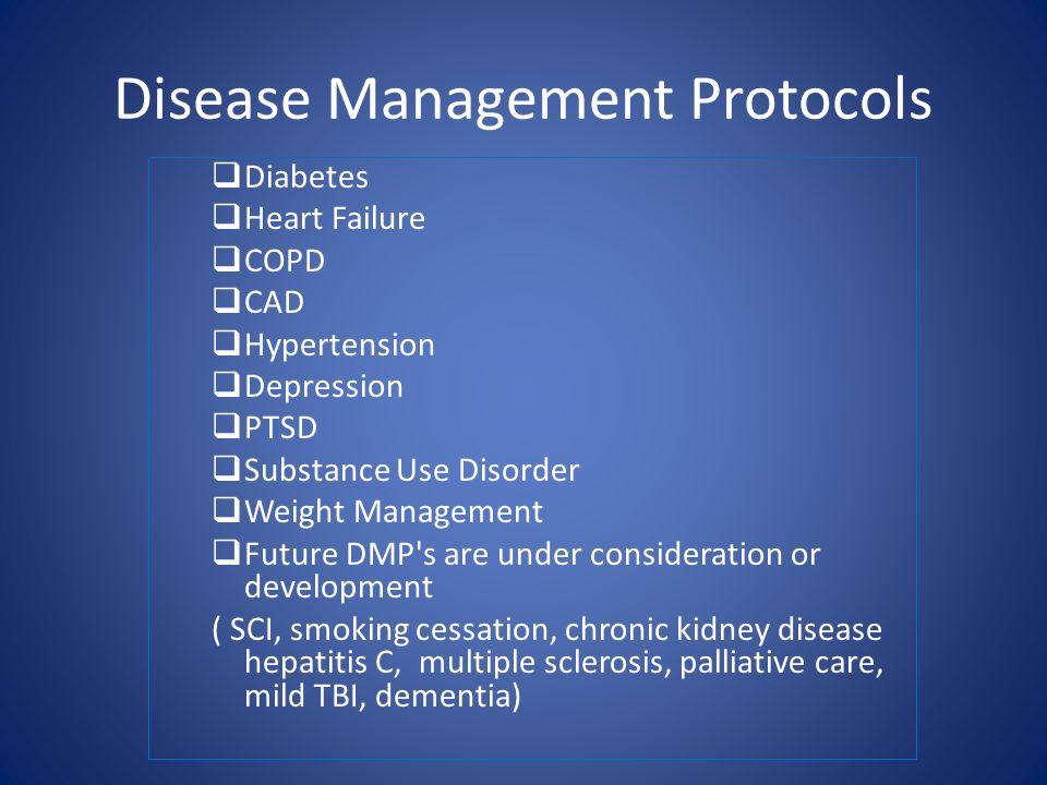 Disease Management Protocols Diabetes Heart Failure COPD CAD Hypertension Depression PTSD Substance Use Disorder Weight Management Future DMP's are un