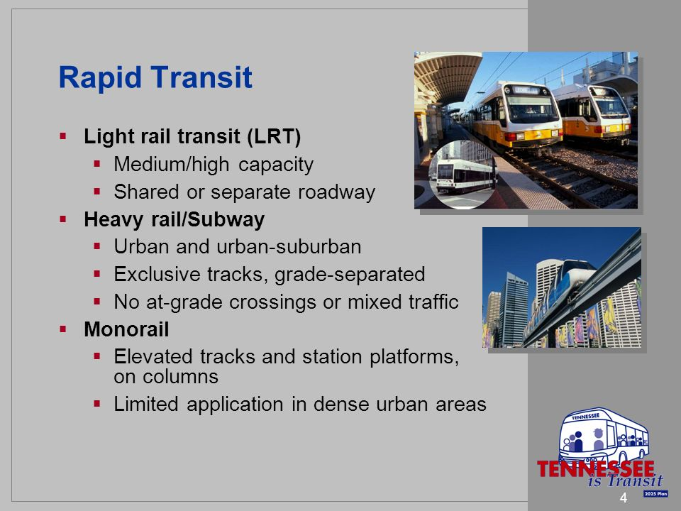 5 Rapid Transit (continued) Commuter rail Operates on existing tracks Self-propelled electric or diesel Serves inter-urban commuters Characteristics of rapid transit Higher capital costs Much higher speed and capacity Unknown contingency costs – construction, right of way, project mitigation, grade separation, etc.