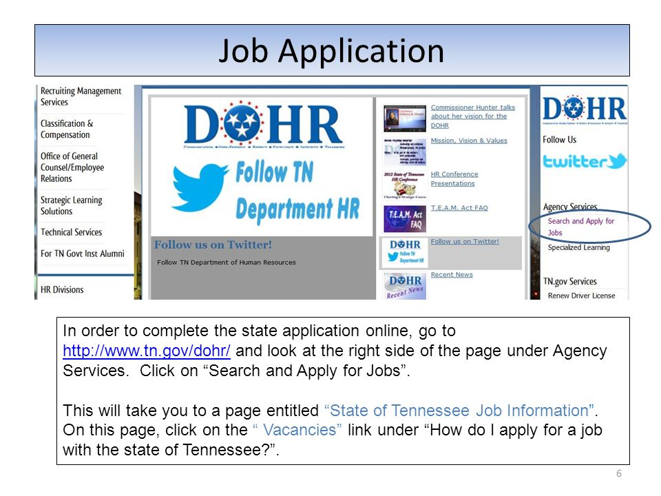 Job Application 6 In order to complete the state application online, go to http://www.tn.gov/dohr/ and look at the right side of the page under Agency
