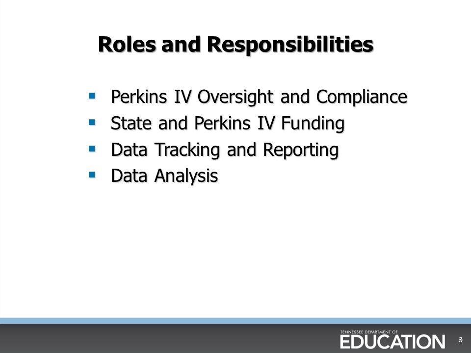 Roles and Responsibilities Perkins IV Oversight and Compliance Perkins IV Oversight and Compliance State and Perkins IV Funding State and Perkins IV Funding Data Tracking and Reporting Data Tracking and Reporting Data Analysis Data Analysis 3