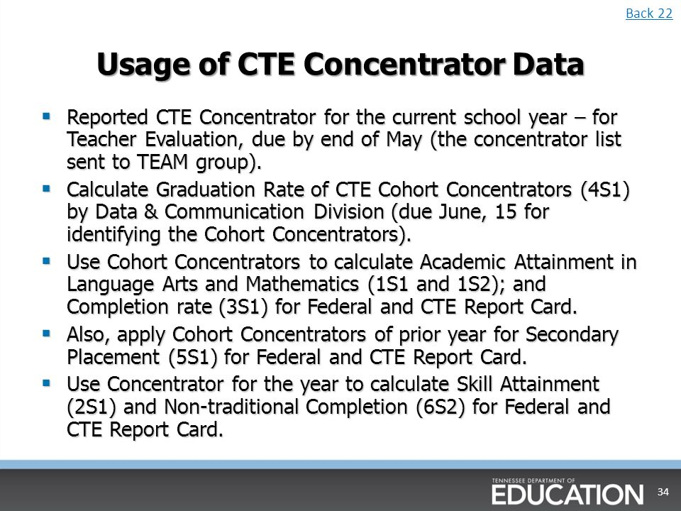 Usage of CTE Concentrator Data Reported CTE Concentrator for the current school year – for Teacher Evaluation, due by end of May (the concentrator list sent to TEAM group).