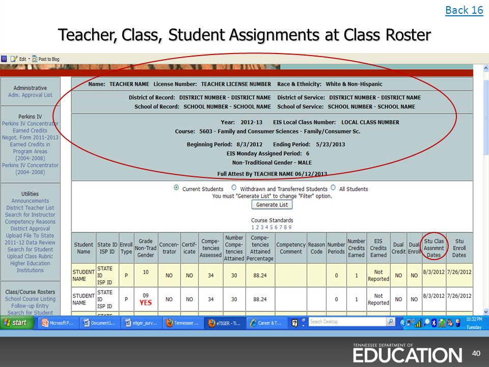 Teacher, Class, Student Assignments at Class Roster 40 Back 16