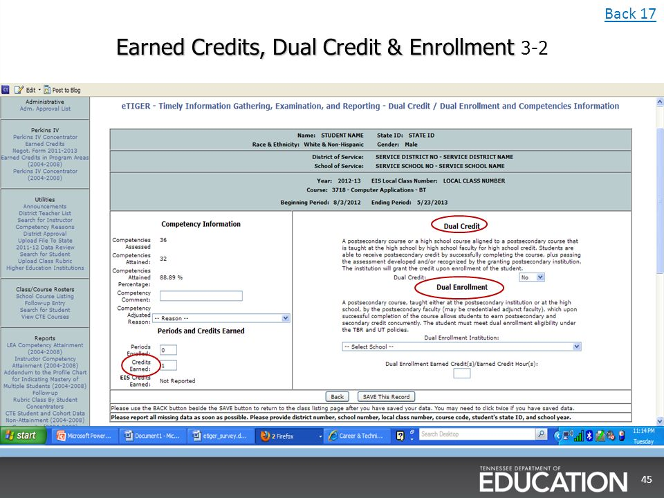 Earned Credits, Dual Credit & Enrollment Earned Credits, Dual Credit & Enrollment 3-2 45 Back 17