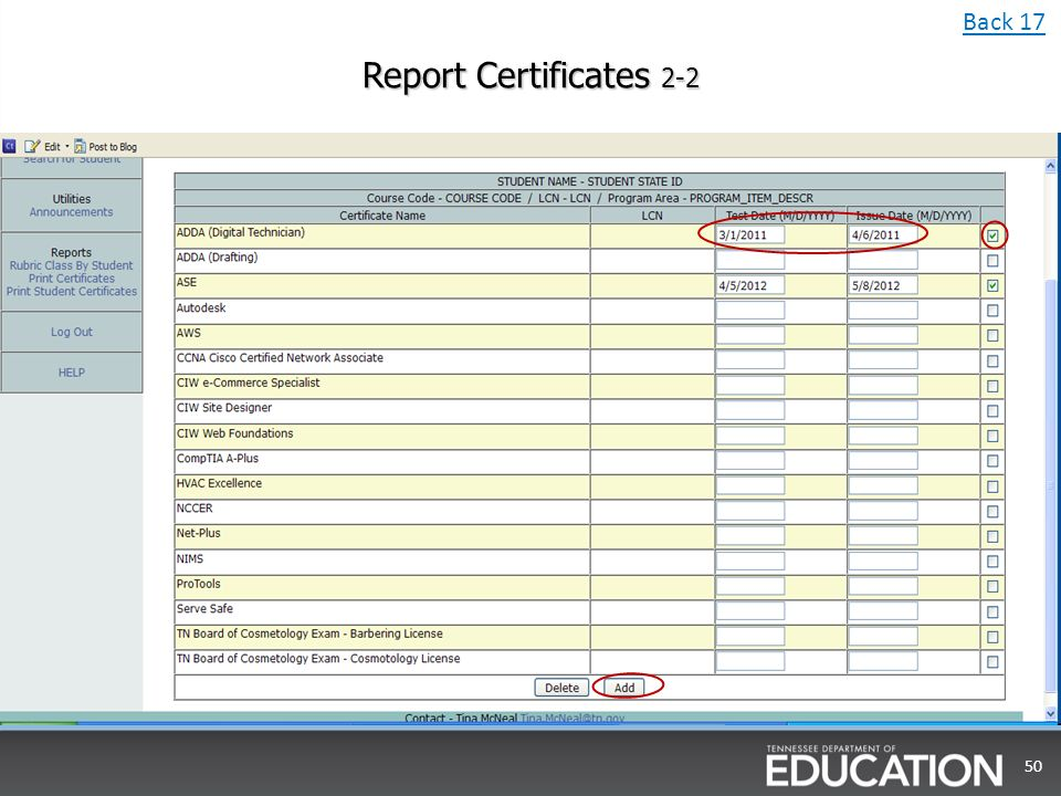 Report Certificates Back 17