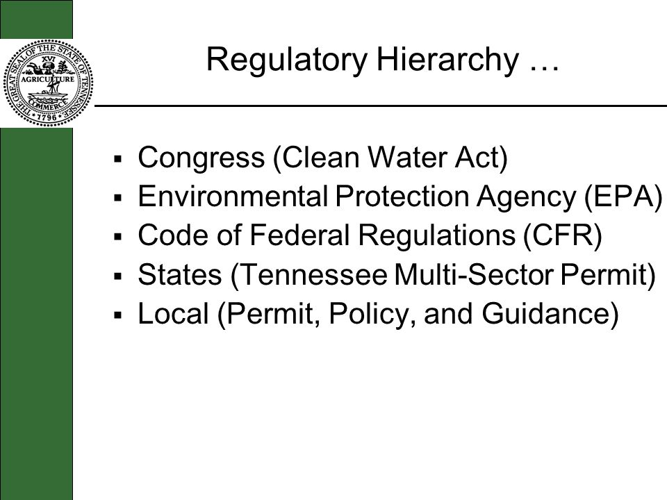 Regulatory Hierarchy … Congress (Clean Water Act) Environmental Protection Agency (EPA) Code of Federal Regulations (CFR) States (Tennessee Multi-Sector Permit) Local (Permit, Policy, and Guidance)