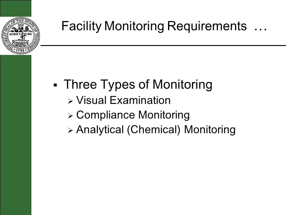 Facility Monitoring Requirements … Three Types of Monitoring Visual Examination Compliance Monitoring Analytical (Chemical) Monitoring
