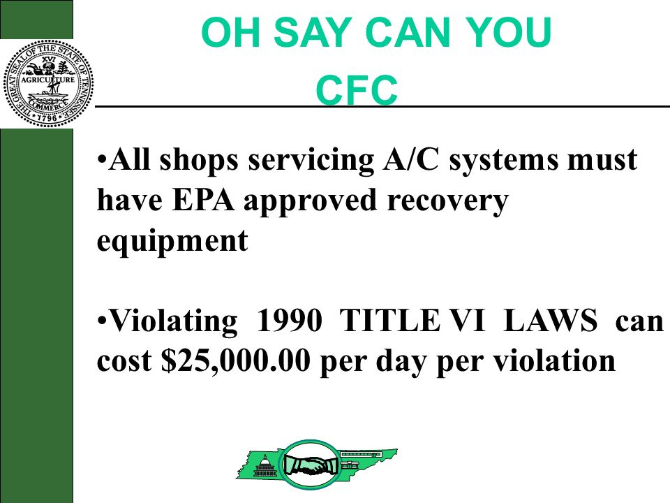 OH SAY CAN YOU CFC All shops servicing A/C systems must have EPA approved recovery equipment Violating 1990 TITLE VI LAWS can cost $25,000.00 per day