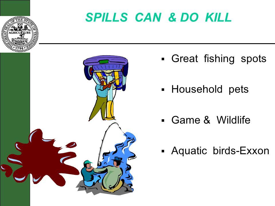 SPILLS CAN & DO KILL Great fishing spots Household pets Game & Wildlife Aquatic birds-Exxon