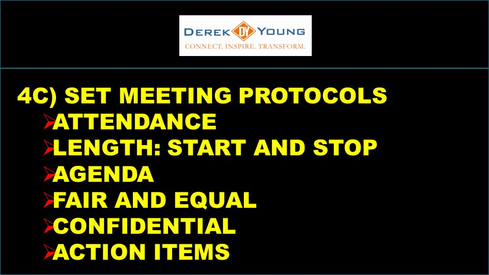 INCREASINGSALESTHROUGHINCLUSION 4C) SET MEETING PROTOCOLS ATTENDANCE LENGTH: START AND STOP AGENDA FAIR AND EQUAL CONFIDENTIAL ACTION ITEMS
