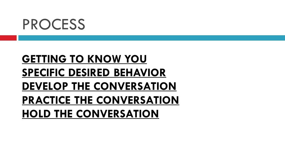 PROCESS GETTING TO KNOW YOU SPECIFIC DESIRED BEHAVIOR DEVELOP THE CONVERSATION PRACTICE THE CONVERSATION HOLD THE CONVERSATION