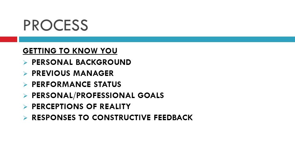 PROCESS GETTING TO KNOW YOU PERSONAL BACKGROUND PREVIOUS MANAGER PERFORMANCE STATUS PERSONAL/PROFESSIONAL GOALS PERCEPTIONS OF REALITY RESPONSES TO CONSTRUCTIVE FEEDBACK