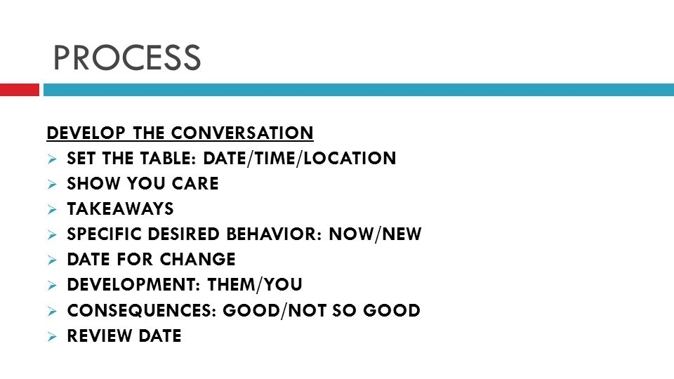 PROCESS DEVELOP THE CONVERSATION SET THE TABLE: DATE/TIME/LOCATION SHOW YOU CARE TAKEAWAYS SPECIFIC DESIRED BEHAVIOR: NOW/NEW DATE FOR CHANGE DEVELOPMENT: THEM/YOU CONSEQUENCES: GOOD/NOT SO GOOD REVIEW DATE