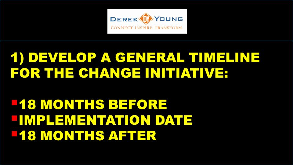 INCREASINGSALESTHROUGHINCLUSION 1) DEVELOP A GENERAL TIMELINE FOR THE CHANGE INITIATIVE: 18 MONTHS BEFORE IMPLEMENTATION DATE 18 MONTHS AFTER