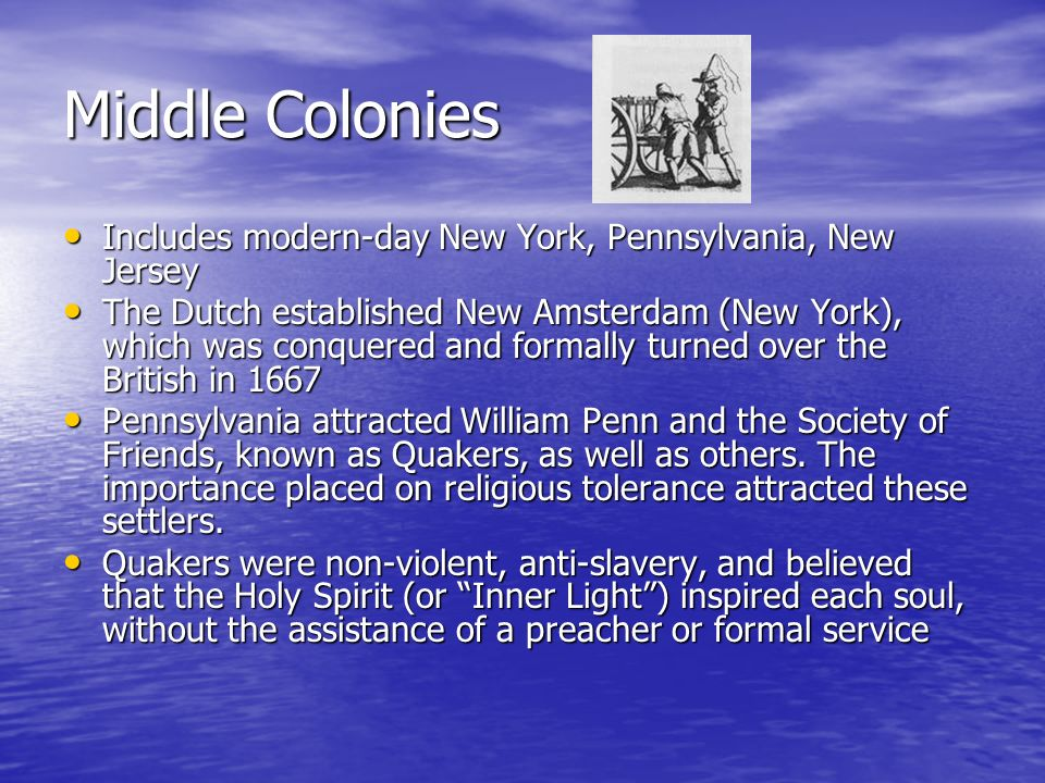Middle Colonies Includes modern-day New York, Pennsylvania, New Jersey Includes modern-day New York, Pennsylvania, New Jersey The Dutch established Ne