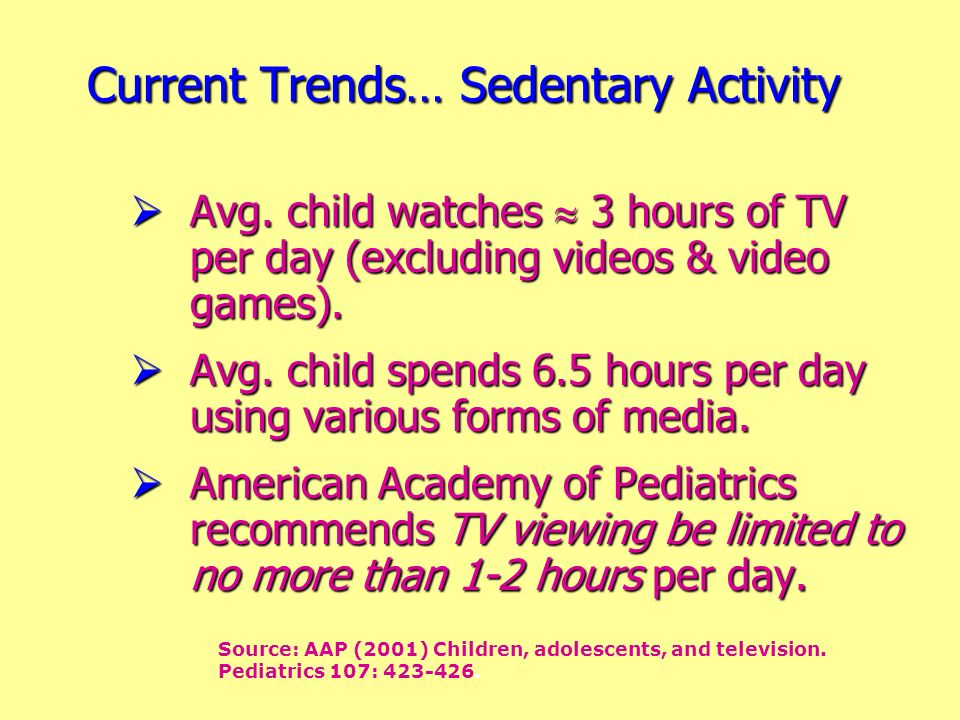 Avg. child watches 3 hours of TV per day (excluding videos & video games). Avg. child watches 3 hours of TV per day (excluding videos & video games).