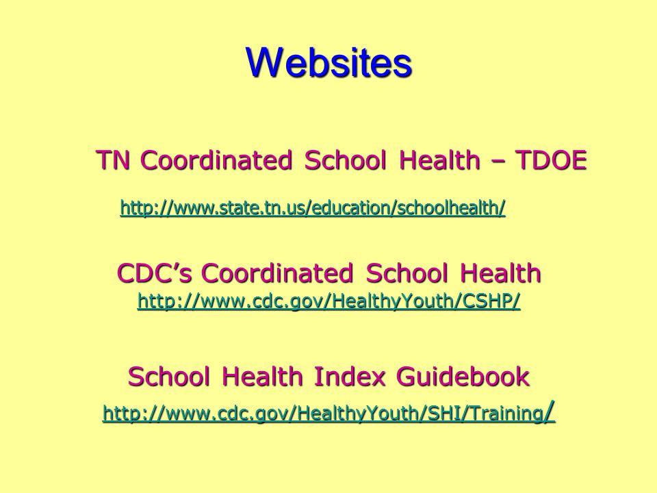 Websites TN Coordinated School Health – TDOE CDCs Coordinated School Health http://www.cdc.gov/HealthyYouth/CSHP/ School Health Index Guidebook http:/