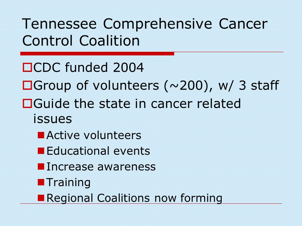 Tennessee Comprehensive Cancer Control Coalition CDC funded 2004 Group of volunteers (~200), w/ 3 staff Guide the state in cancer related issues Active volunteers Educational events Increase awareness Training Regional Coalitions now forming