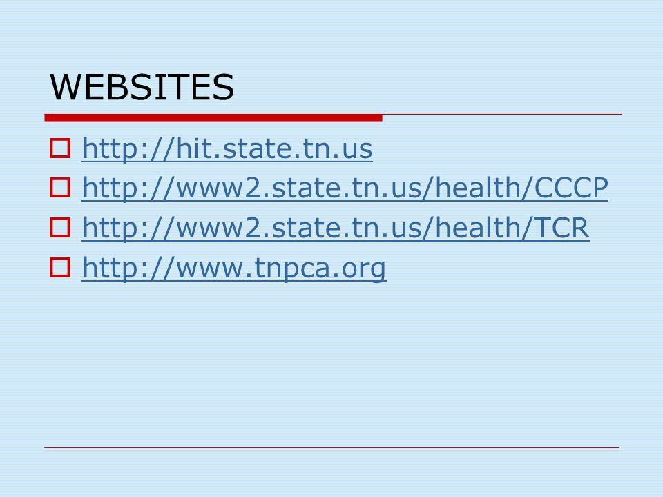 WEBSITES http://hit.state.tn.us http://www2.state.tn.us/health/CCCP http://www2.state.tn.us/health/TCR http://www.tnpca.org