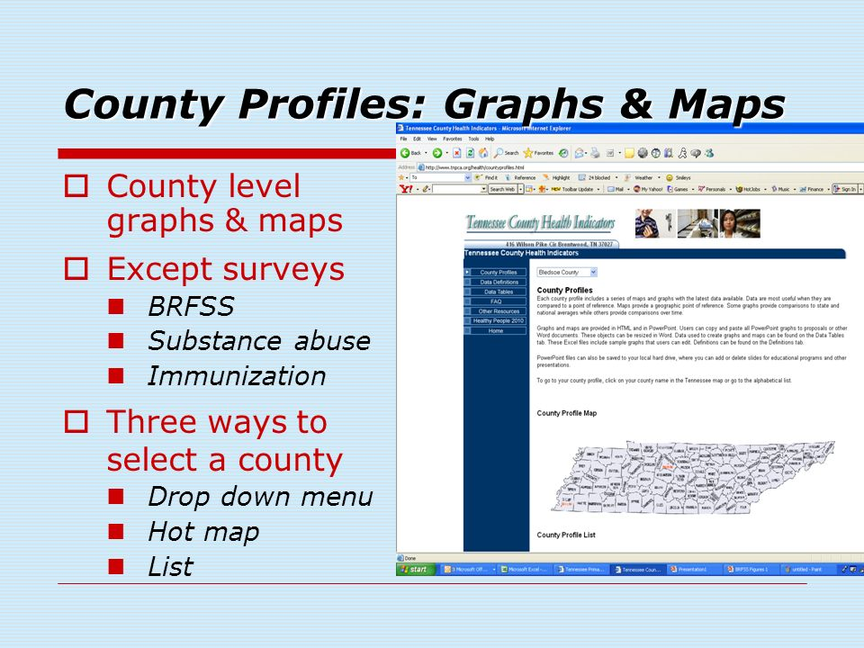 County level graphs & maps Except surveys BRFSS Substance abuse Immunization Three ways to select a county Drop down menu Hot map List County Profiles: Graphs & Maps