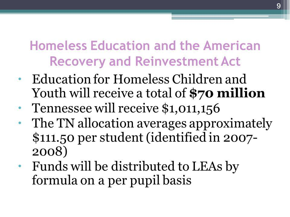 10 McKinney-Vento ARRA Stimulus Funds McKinney-Vento stimulus funds for the 2009- 2010 Consolidated Application is based on the number of homeless students reported for 2007-2008 CREP (Center for Research in Educational Policy) Report data for American Recovery and Reinvestment Act of 2009.