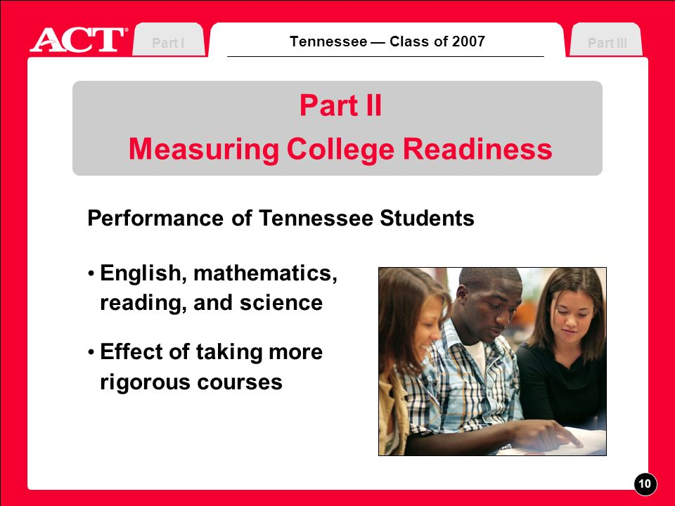 Measuring College Readiness Tennessee Class of 2007 Part IIIPart I Performance of Tennessee Students English, mathematics, reading, and science Effect of taking more rigorous courses 10
