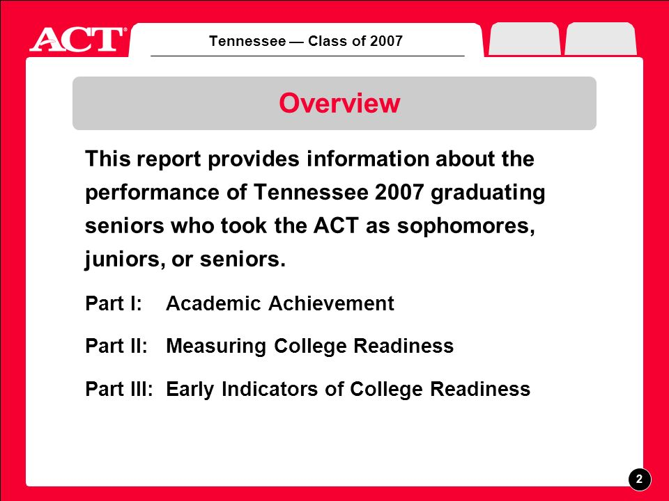 Tennessee Class of 2007 ACT Components Tests of academic achievement: English, math, reading, science, writing* High school grades and courses Student Profile Section Career Interest Inventory *Optional ACT Writing Test results are included in the High School Profile Report.