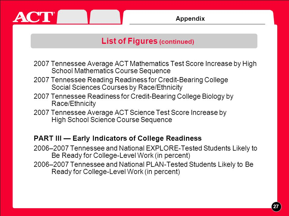 Appendix List of Figures (continued) 2007 Tennessee Average ACT Mathematics Test Score Increase by High School Mathematics Course Sequence 2007 Tennessee Reading Readiness for Credit-Bearing College Social Sciences Courses by Race/Ethnicity 2007 Tennessee Readiness for Credit-Bearing College Biology by Race/Ethnicity 2007 Tennessee Average ACT Science Test Score Increase by High School Science Course Sequence PART III Early Indicators of College Readiness 2006–2007 Tennessee and National EXPLORE-Tested Students Likely to Be Ready for College-Level Work (in percent) 2006–2007 Tennessee and National PLAN-Tested Students Likely to Be Ready for College-Level Work (in percent) 27