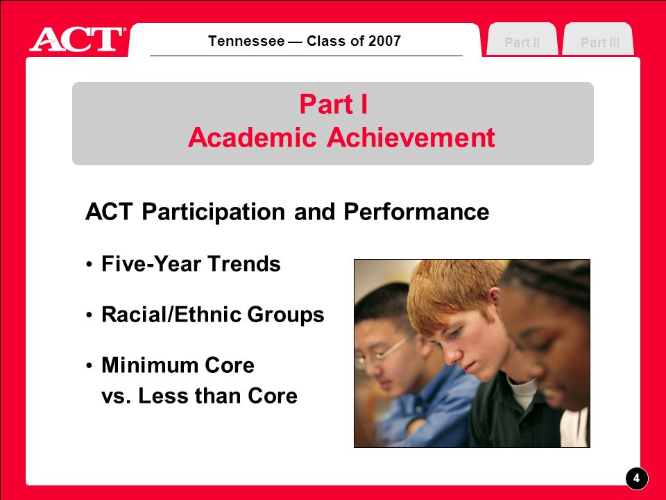 Part I Academic Achievement ACT Participation and Performance Five-Year Trends Racial/Ethnic Groups Minimum Core vs.