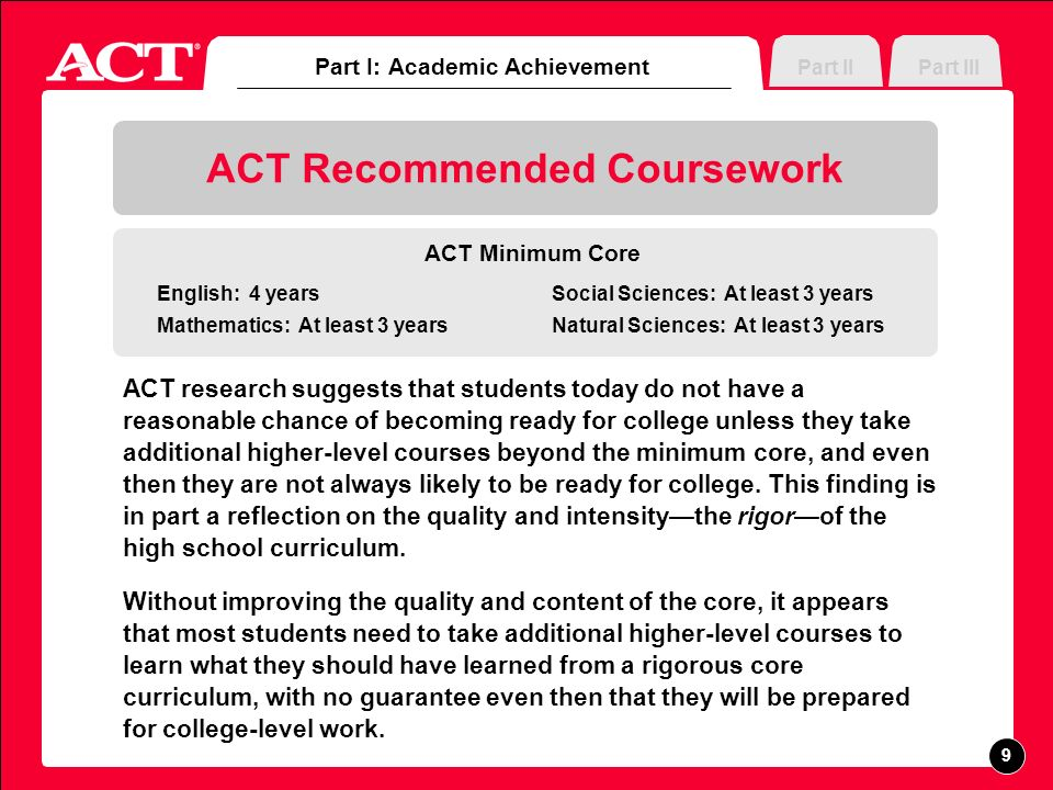 Part III ACT Recommended Coursework ACT research suggests that students today do not have a reasonable chance of becoming ready for college unless they take additional higher-level courses beyond the minimum core, and even then they are not always likely to be ready for college.