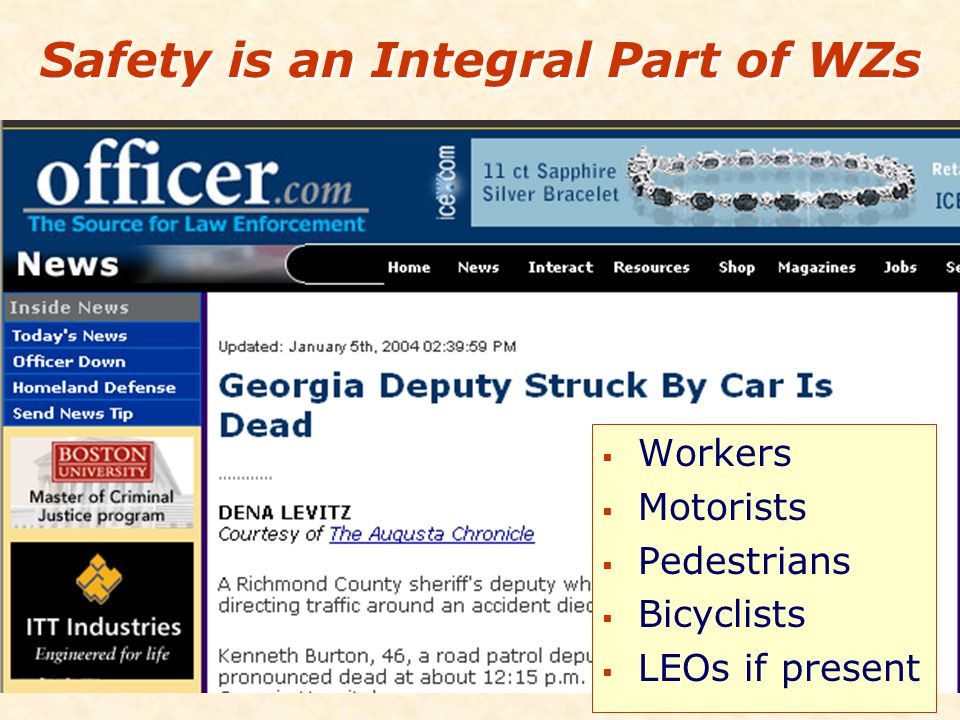 Safety is an Integral Part of WZs Workers Motorists Pedestrians Bicyclists LEOs if present