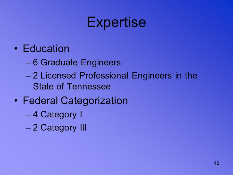 12 Expertise Education –6 Graduate Engineers –2 Licensed Professional Engineers in the State of Tennessee Federal Categorization –4 Category I –2 Cate