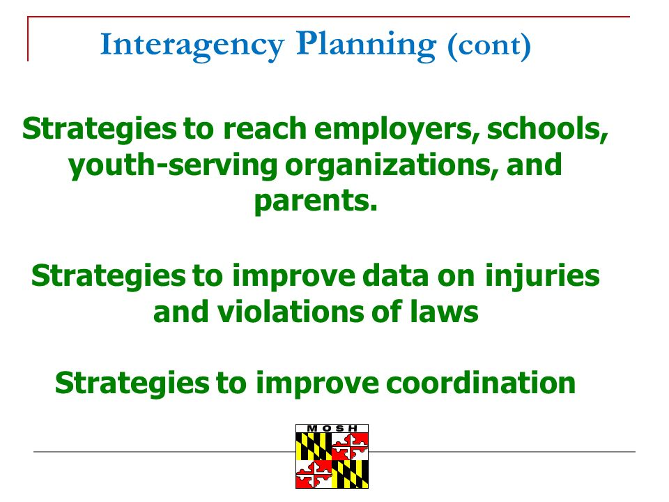 I nteragency Planning (cont) Strategies to reach employers, schools, youth-serving organizations, and parents.