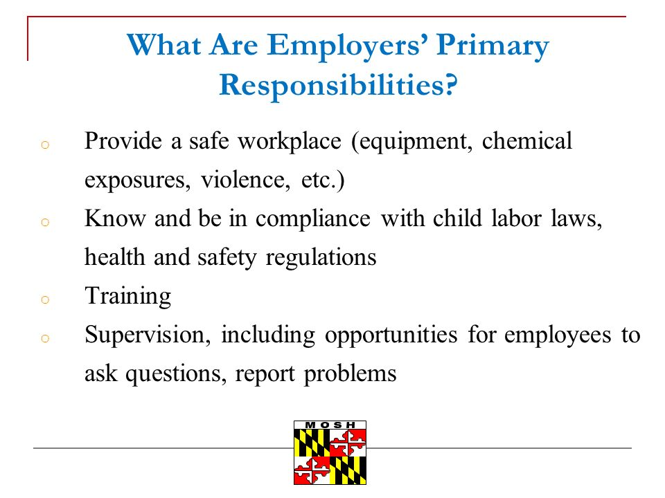 What Are Employers Primary Responsibilities.